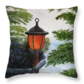 Throw Pillow featuring the painting Storm On Lake Of The Woods by Marilyn  McNish