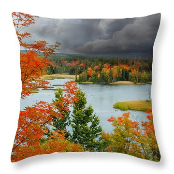Storm Over Ausable River Throw Pillow