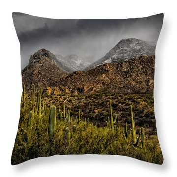 Storm Over Catalinas 15 Throw Pillow