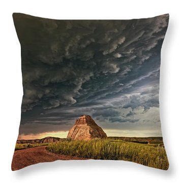 Storm Over Dinosaur Throw Pillow
