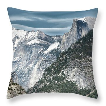 Throw Pillow featuring the photograph Storm Over Half Dome by Sandra Bronstein