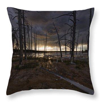 Storm Over Lower Geyser Basin Throw Pillow