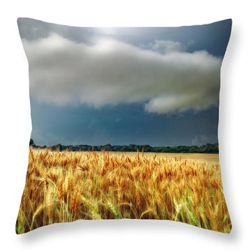 Storm Over Ripening Wheat Throw Pillow
