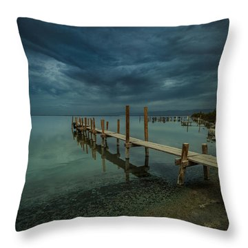 Storm Over The Dock Throw Pillow