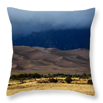 Storm Over The Great Dunes Colorado  Throw Pillow