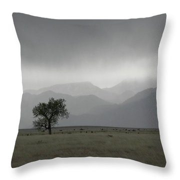 Storm Over The Rockies Throw Pillow