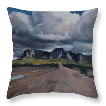 Storm Over The Superstitions Throw Pillow by Barbara Barber