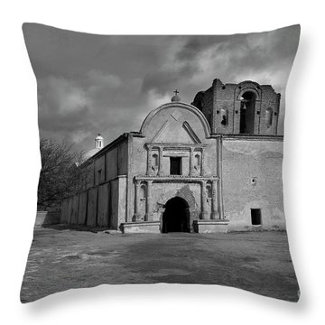 Throw Pillow featuring the photograph Storm Over Tumacacori II by Sandra Bronstein