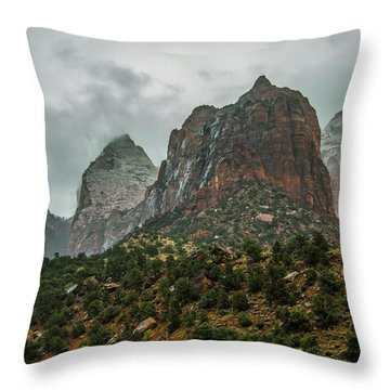 Storm Over Zion Throw Pillow