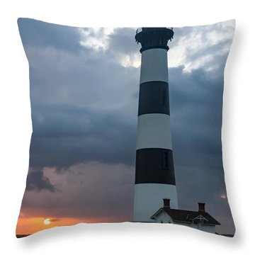 Storm Passes Bodie Island Lighthouse Throw Pillow