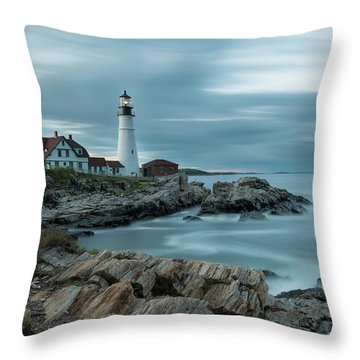 Storm Passing At Portland Head Light Throw Pillow
