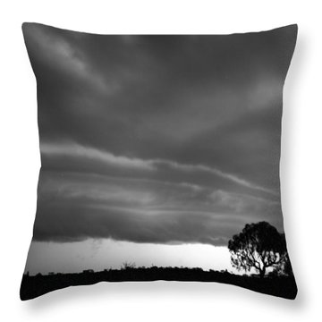 Throw Pillow featuring the photograph Storm Passing Over Solitary Tree In The Desert by Keiran Lusk