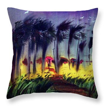 Throw Pillow featuring the painting Storm by Samiran Sarkar