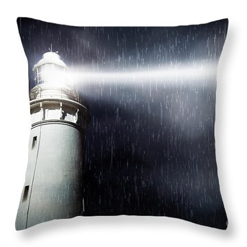 Storm Searchlight Throw Pillow