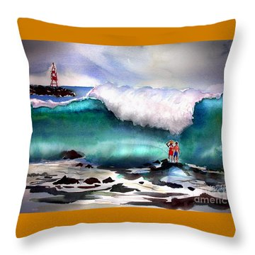 Storm Surf Moment Throw Pillow