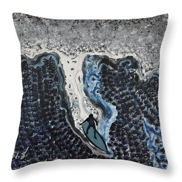 Storm Surfer Original Painting Sold Throw Pillow