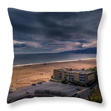 Storm Watch Over Malibu - Panarama  Throw Pillow