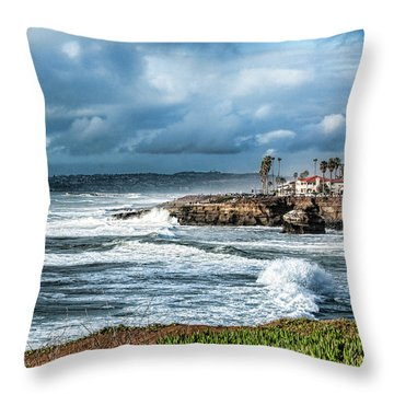 Storm Wave At Sunset Cliffs Throw Pillow by Daniel Hebard