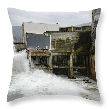 Storm Waves Hit Aeneas Ruins At Cannery Row Throw Pillow
