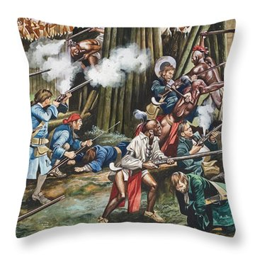 Storming Of The Fortress Of Neoheroka Throw Pillow by Ron Embleton
