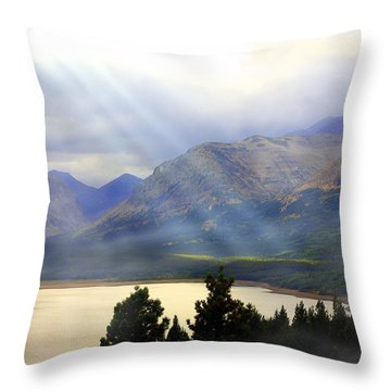 Storms A Coming-lower Two Medicine Lake Throw Pillow by Marty Koch