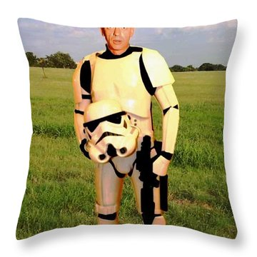 Stormtrooper Barney Fife Throw Pillow by Paul Van Scott