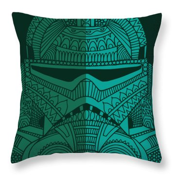 Stormtrooper Helmet - Star Wars Art - Blue Green Throw Pillow