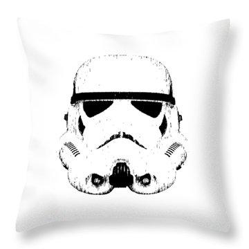 Throw Pillow featuring the digital art Stormtrooper Helmet Star Wars Tee Black Ink by Edward Fielding