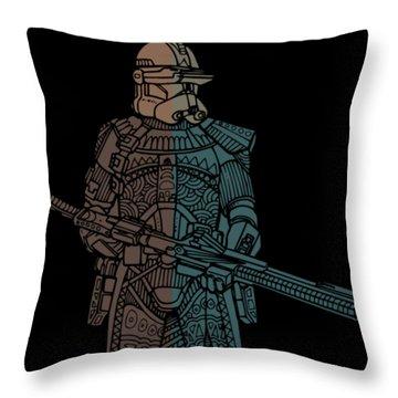 Stormtrooper Samurai - Star Wars Art - Minimal Throw Pillow