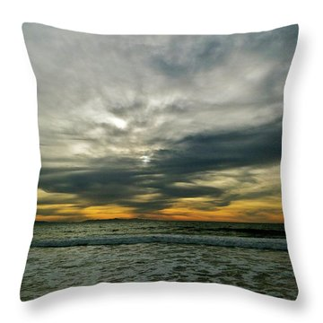 Stormy Beach Clouds Throw Pillow