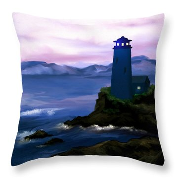 Throw Pillow featuring the painting Stormy Blue Night by Susan Kinney