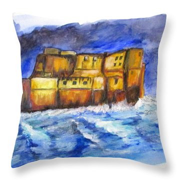 Stormy Castle Dell'ovo, Napoli Throw Pillow
