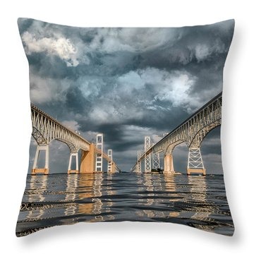 Stormy Chesapeake Bay Bridge Throw Pillow