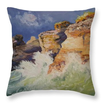 Stormy Cliffs At Sea Throw Pillow