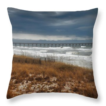 Throw Pillow featuring the photograph Stormy Day At The Pier by Renee Hardison