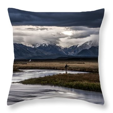 Stormy Day Of Fishing Throw Pillow