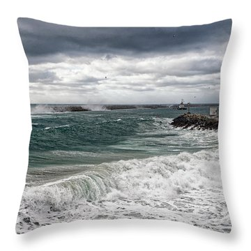 Throw Pillow featuring the photograph Stormy Day On Redondo by Michael Hope