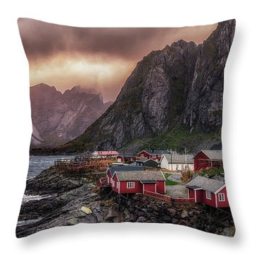 Stormy Hamnoy Throw Pillow