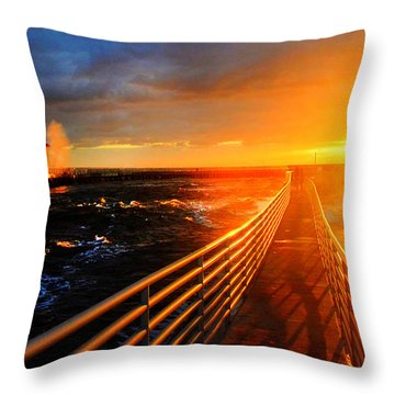 Throw Pillow featuring the photograph Stormy Inlet Sunrise by Don Durfee