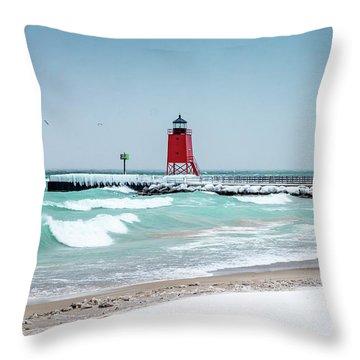 Stormy Lake Throw Pillow