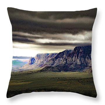 Stormy Morning In Red Rock Canyon Throw Pillow