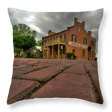 Stormy Morning On Main Street Throw Pillow
