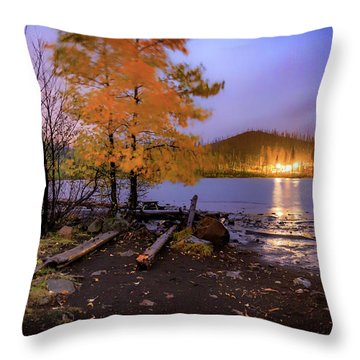 Throw Pillow featuring the photograph Stormy Night At Round Lake by Cat Connor