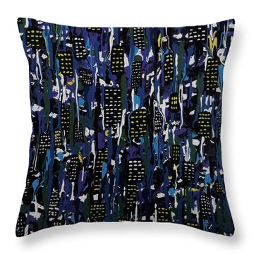 Throw Pillow featuring the painting Stormy Night In The City by Teresa Wing