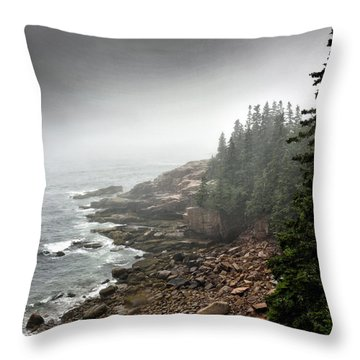 Stormy North Atlantic Coast - Acadia National Park - Maine Throw Pillow by Brendan Reals