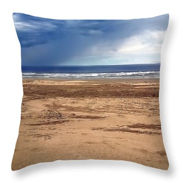 Stormy Nye Beach Throw Pillow by Jerry Sodorff