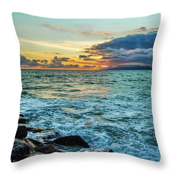 Stormy Ocean Sunset Throw Pillow