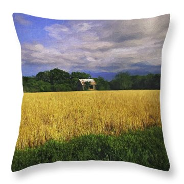 Stormy Old Barn In Wheat Field 2 Throw Pillow
