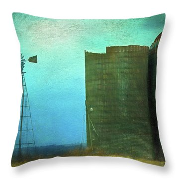 Stormy Old Silos And Windmill Throw Pillow
