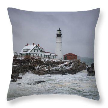 Stormy Portland Head Light Throw Pillow
